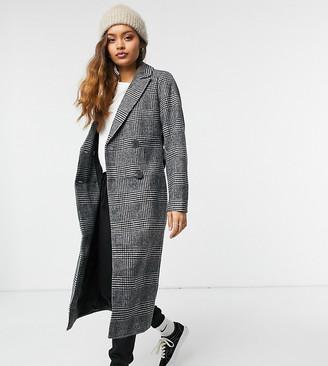 New Look Petite formal maxi coat in grey check