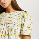 Thumbnail for your product : River Island Womens Yellow short sleeve floral smock mini dress