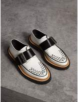 Burberry Buckle Detail Woven-toe Leather Shoes