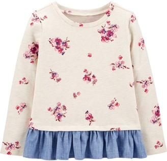 Osh Kosh Toddler Girl OshKosh Bgosh Floral Ruffle-Hem Pullover Sweatshirt