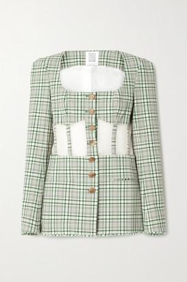 Rosie Assoulin Organza-paneled Checked Cotton-blend Canvas Blazer - Green