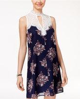 Sequin Hearts Juniors' Printed Lace-Trim Shift Dress