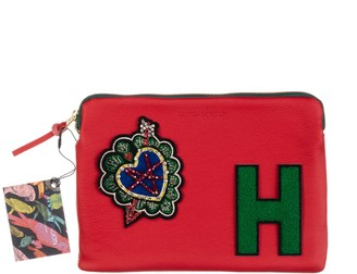 Laines London Embellished Arrow Heart Personalised Classic Leather Clutch Bag - Medium - Red /Green