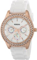 Fossil ES3454 37mm Rose Gold Case Silicone Mineral Women's Watch