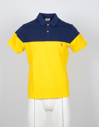 U.S. Polo Assn. Blue and Yellow Color Block Cottton Men's Polo Shirts