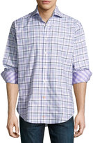 Thomas Dean Plaid Long-Sleeve Sport Shirt, Purple