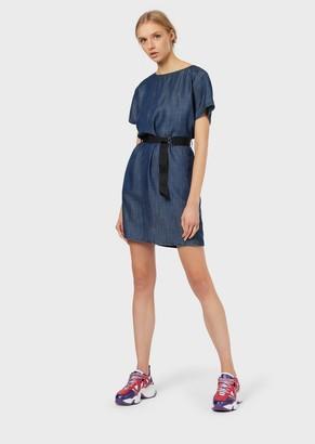 Emporio Armani Denim Dress With Logo Belt