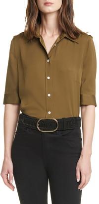 Frame '70s Epaulet Silk Shirt