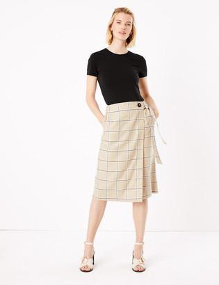 Marks and Spencer Linen Checked Midi Wrap Skirt