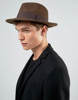 Asos Pork Pie Hat In Brown Marl