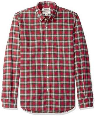 Goodthreads Slim-fit Long-sleeve Plaid Oxford Shirt Button, Bright Blue Red