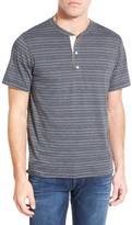 Billy Reid &Hunter& Regular Fit Stripe Short Sleeve Henley