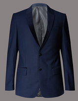 Autograph Navy Textured Slim Fit Single Breasted Jacket