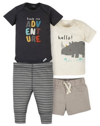 Gerber Baby Boys Onesies Bodysuit, T-shirt, Shorts and Active Pants Set, 4-Piece