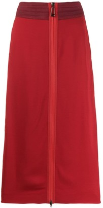 Fendi side embroidered midi skirt
