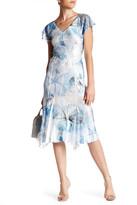 Komarov Flutter Sleeve Midi Print Dress (Petite)