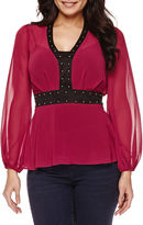 Bisou Bisou Studded Peplum Top