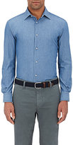 Piattelli MEN'S COTTON CHAMBRAY SHIRT-LIGHT BLUE SIZE S
