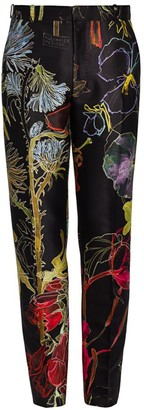 Alexander McQueen Floral Wool & Silk Trousers