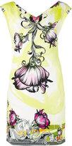 Versace floral print V-neck dress - women - Cotton/Spandex/Elastane/Viscose - 42