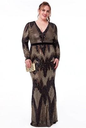 Goddiva Plus Long Sleeve Sequin Evening Maxi Dress - Black