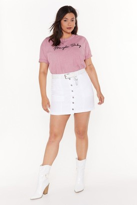 Nasty Gal Womens You Can't Bring Me Button-Down Plus Denim Skirt - white - 16