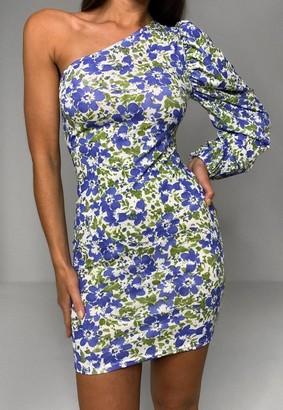 Missguided Blue Floral Print One Sleeve Mini Dress