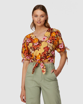 Princess Highway - Women's Brown Shirts & Blouses - Gina Flora Tie Top - Size One Size, 6 at The Iconic