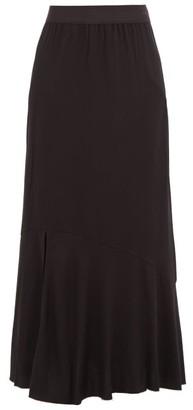 Ann Demeulemeester Raw-hem Side-slit Twill Skirt - Womens - Black