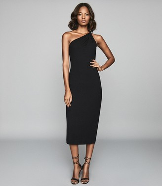 Reiss TINA Twist Shoulder Crepe Dress Black