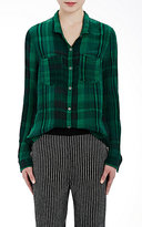 Raquel Allegra Women's Washed Gauze Button-Down Shirt-BLACK, GREEN