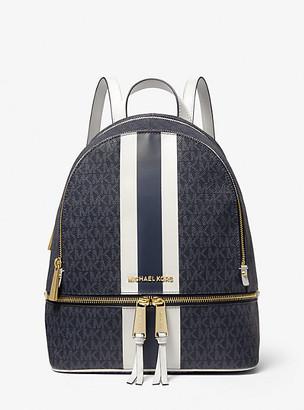 MICHAEL Michael Kors MK Rhea Medium Logo Stripe Backpack - Admrl/plblue - Michael Kors