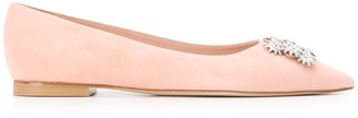 Stuart Weitzman Crystal Broach Ballerina Flats