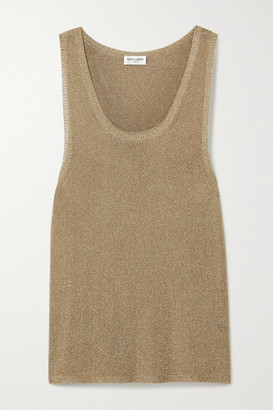 Saint Laurent Metallic Knitted Tank - Gold