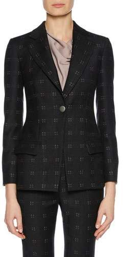 Giorgio Armani One-Button Patterned Stretch-Wool Novelty Jacket