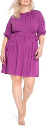 ELOQUII Puff Sleeve Cinched Waist Dress