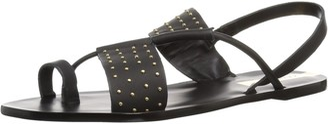 Kaanas Women's SAO Paulo Studded Flat Leather Sandal Black 6 Regular US