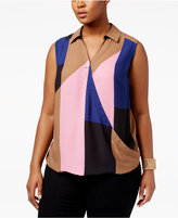 INC International Concepts Plus Size Colorblocked Surplice Top, Only at Macy's
