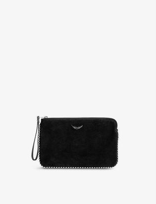 Zadig & Voltaire Uma stud-embellished suede clutch bag