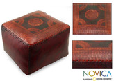 Novica Moon Medallion Unique Decorator Accent Embossed Polished Soft Brown Leather with Whip Stitch Edge Pouf Cube Ottoman (Brazil)