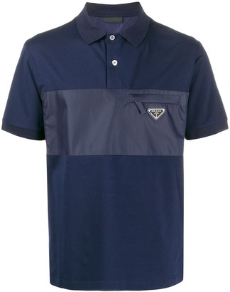 Prada Contrast Panel Polo Shirt