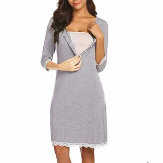 DFVVR Maternity Nursing Lace Delivery Nightgowns Tracksuit Breastfeeding Gown Dress Gray