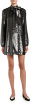 No.21 No. 21 Sequined Long-Sleeve High-Neck Dress w/ Bow