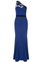 Quiz Royal Blue And Black Mesh One Shoulder Maxi Dress