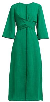 Cefinn - Wrap-bodice Voile Midi Dress - Womens - Green Multi