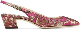 Jimmy Choo GEMMA 40 Pink and Gold Brocade Slingback Pumps