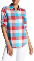 Foxcroft 3/4 Length Sleeve Slub Buffalo Plaid Shirt