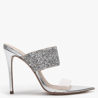 Kurt Geiger Faye Silver Metallic Embellished Sandals