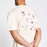 River Island Mens Beige printed short sleeve boxy T-shirt