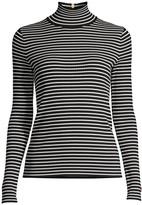 Tory Burch Stripe Rib-Knit Turtleneck Sweater